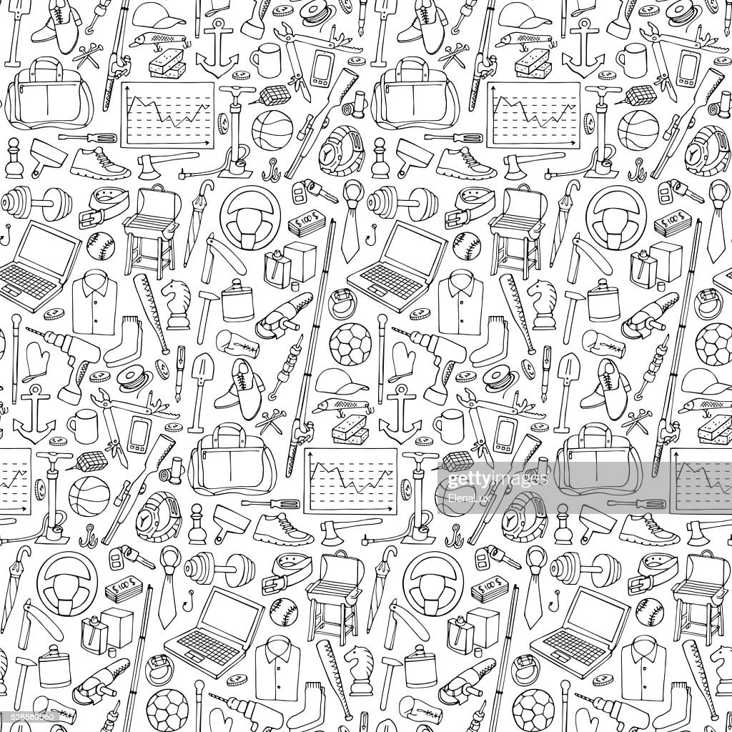 Seamless pattern woth Man Objects