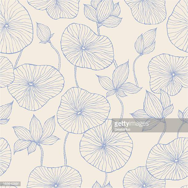 Seamless Pattern—Blue Lotus