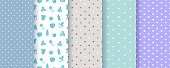 Seamless patterns for baby boy. Vector illustration.