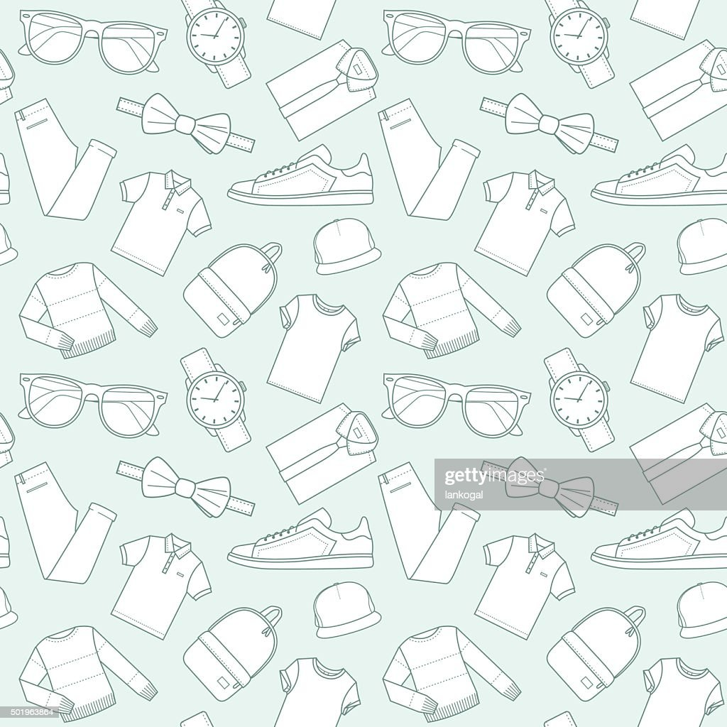 Seamless patterns of male clothes and accessories for online store.