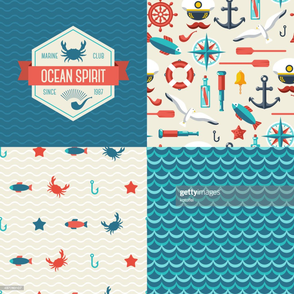 Seamless patterns of marine symbols and label.
