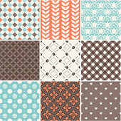 Seamless patterns set - coffee theme for restaurant menu \tSeamless patterns set - coffee theme