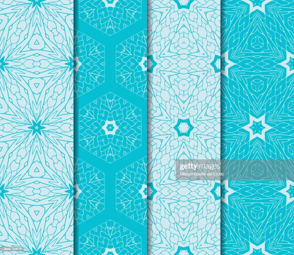 Nahtlose Muster Festgelegt. Dekorative Ethnischen Floral Ornament.  Vektor Illustration. Orientalisches Design Für Print, Tapete, Dekor, Stoff,  Textil. Blaue ...