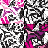 Seamless patterns - Silhouettes of glamor underclothes and accessories.