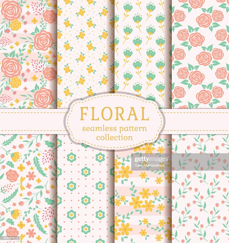 Seamless patterns with flowers.