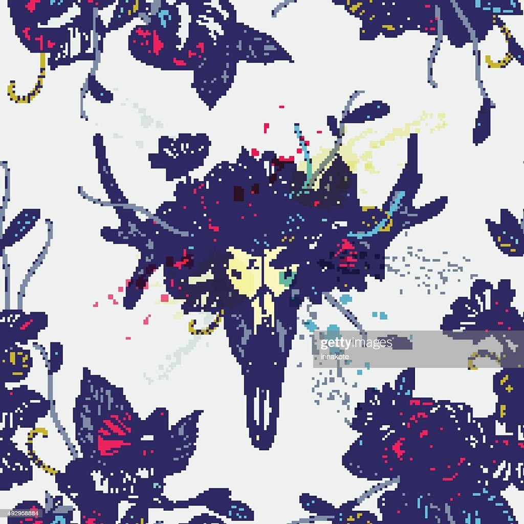 Seamless pattern.Skull of deer in flowers.