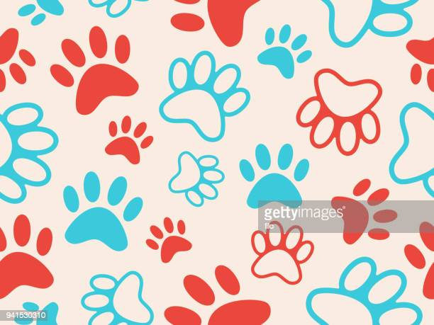 seamless paw print background - dog stock illustrations