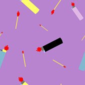 Seamless pettern of lighters and wooden matches vector illustration