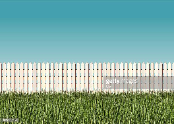 seamless picket fence banner - prairie stock illustrations, clip art, cartoons, & icons