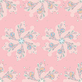 Seamless pink abstract flowers pattern on a pink background