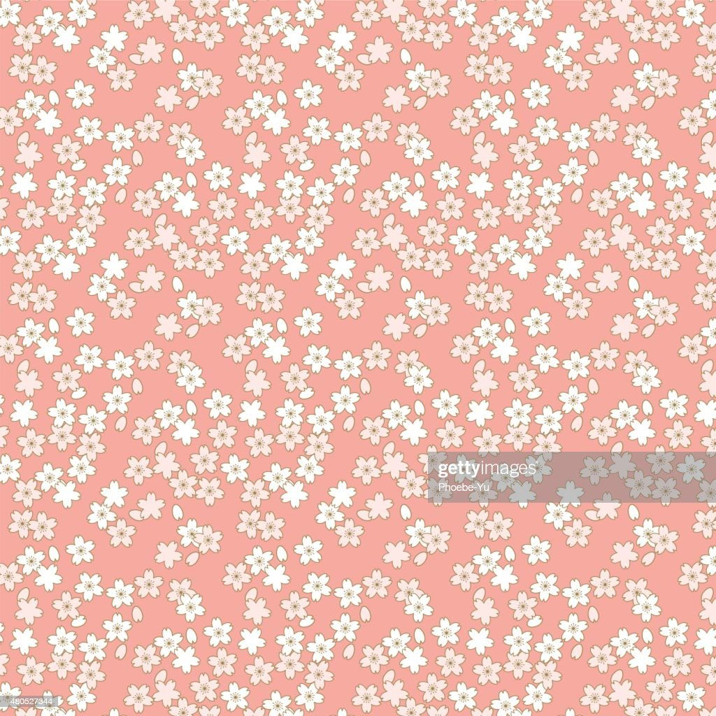 seamless pink and golden cherry blossom flower pattern background. : Vector Art