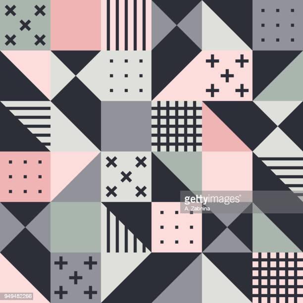 ilustraciones, imágenes clip art, dibujos animados e iconos de stock de sin fisuras patrón geométrico rosado - patchwork