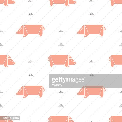 Seamless Pink Origami Pig With Silver Glitter Pattern Background