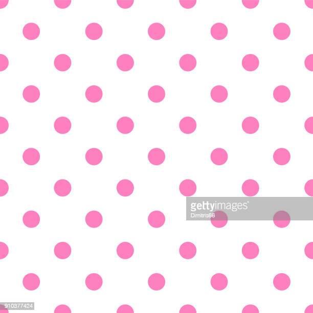 seamless pink polka dot on white background - polka dot stock illustrations