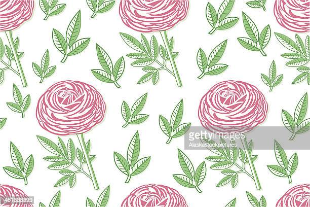 seamless pinkpeony pattern with leafs.