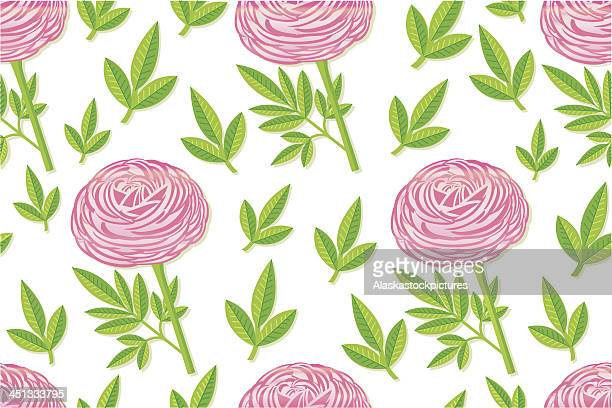 seamless pinkpeony pattern with leafs. - buttercup stock illustrations, clip art, cartoons, & icons