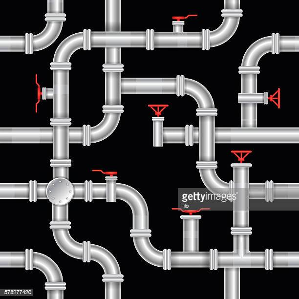 seamless pipe background - water treatment stock illustrations, clip art, cartoons, & icons