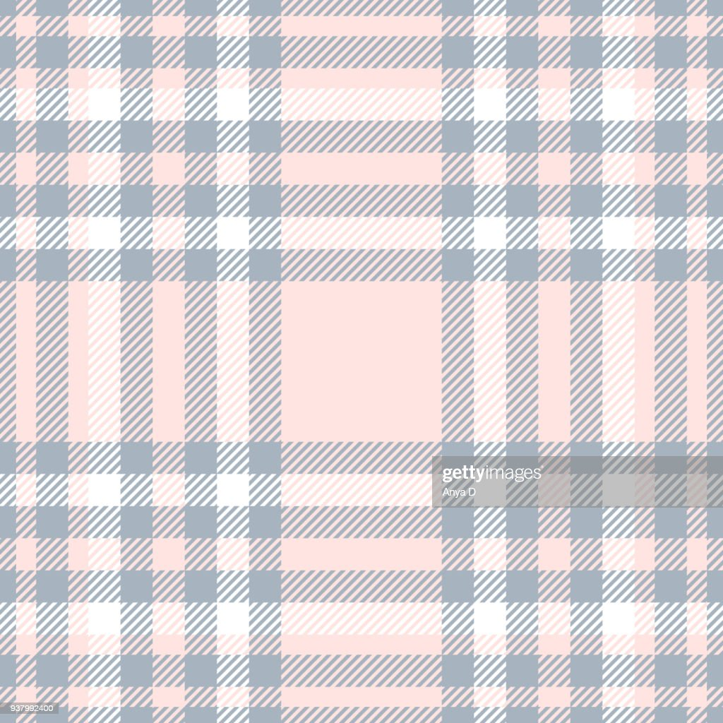 Seamless plaid check pattern in bluish gray, white and pale reddish pink.
