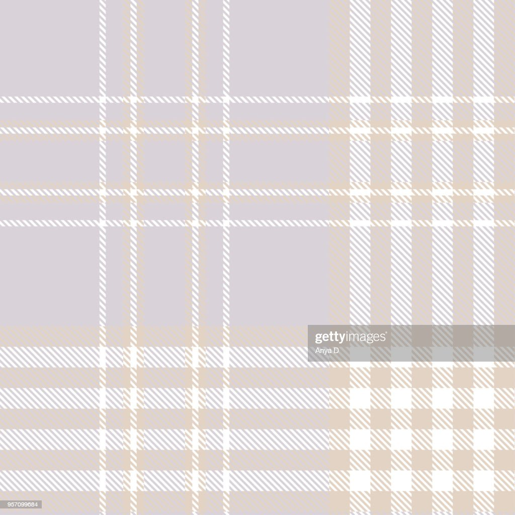 Seamless plaid check pattern in light bluish gray, beige and white.