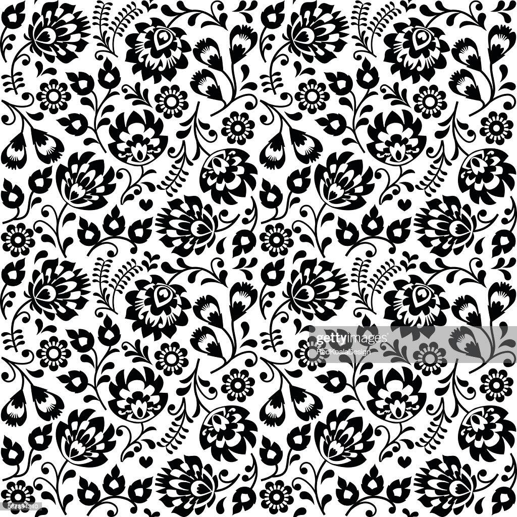 Seamless Polish folk art black floral pattern