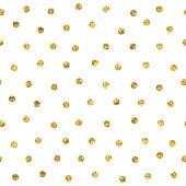 Seamless polka dot golden pattern