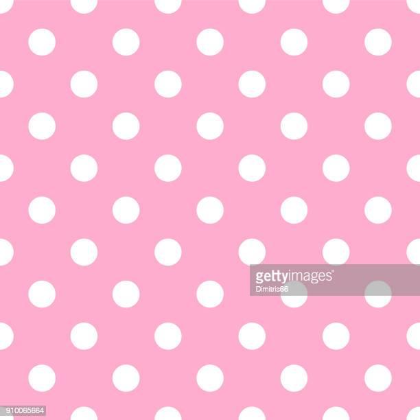 seamless polka dot on pale pink background - polka dot stock illustrations