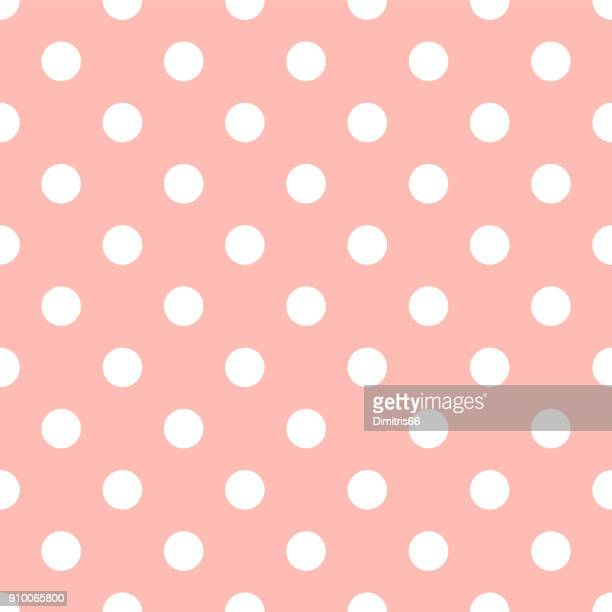 Seamless polka dot on pale pink background