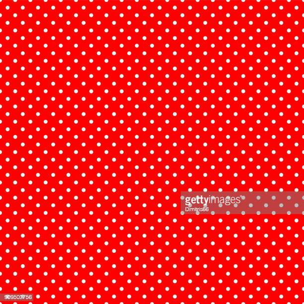 seamless polka dot on red background - stipple effect stock illustrations