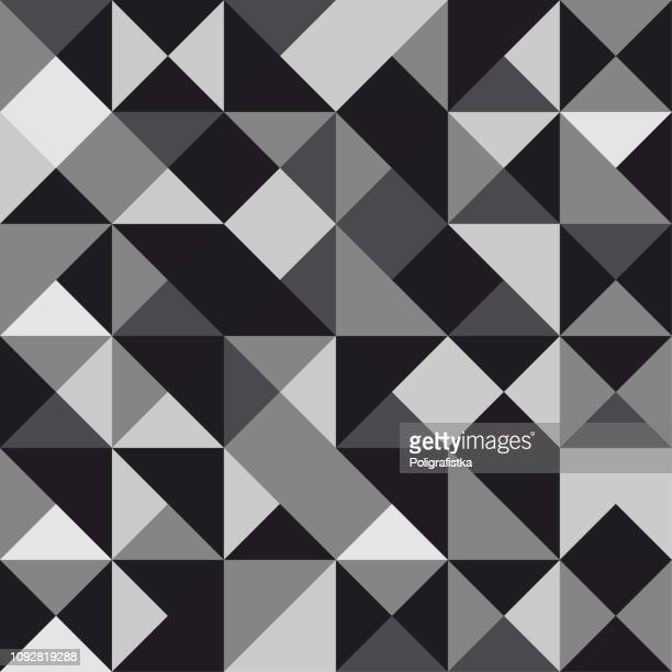 seamless polygon background pattern - polygonal - black and white wallpaper - vector illustration - black and white stock illustrations, clip art, cartoons, & icons
