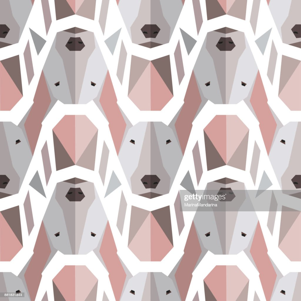 Seamless polygonal pattern with bullterrier head.