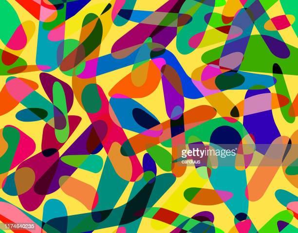 nahtloses pop-art-geometriemuster - streetart stock-grafiken, -clipart, -cartoons und -symbole