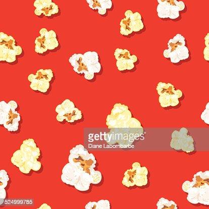 Seamless Popcorn Background Pattern