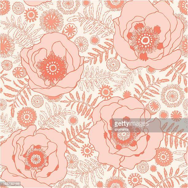 seamless poppy pattern - oriental poppy stock illustrations, clip art, cartoons, & icons