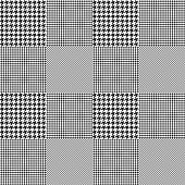 Seamless Prince of Wales check pattern. Classic glen plaid in black and white.