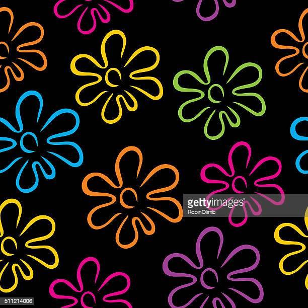 Psicadélico flores sem costura padrão de