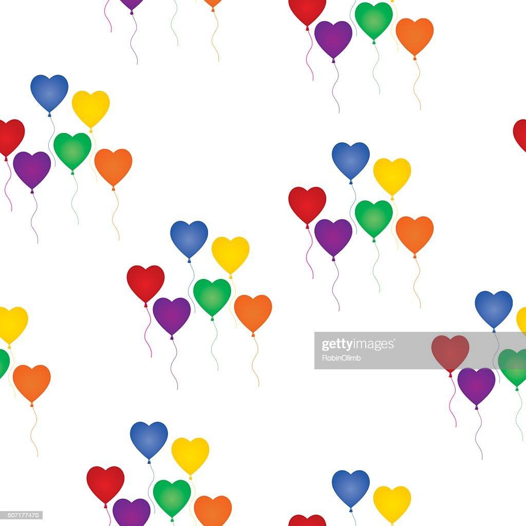 Seamless Rainbow Heart Balloons Background