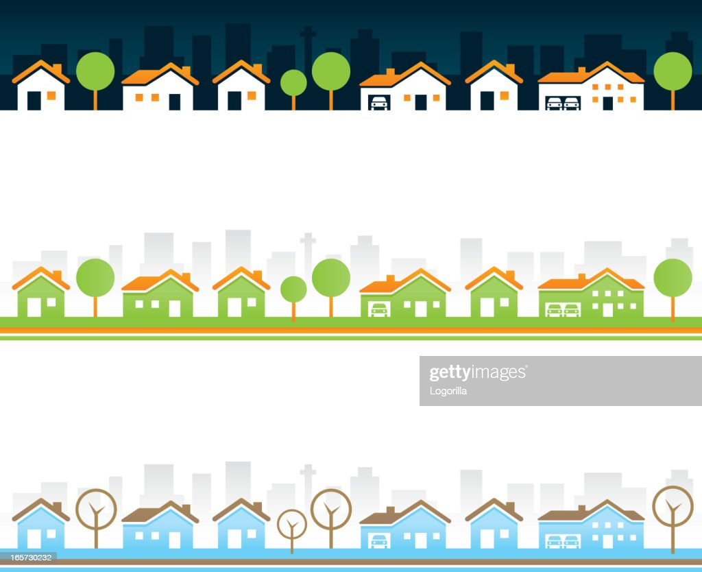 Seamless Real estate borders : stock illustration