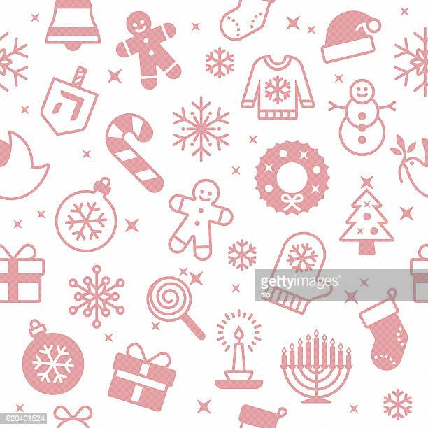 Seamless Red Holiday Symbols Background