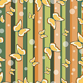 Seamless repeating pattern consisting of strips and butterflies