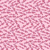 Seamless repeating pattern with the inscription I love you