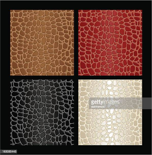 seamless reptile skin patterns - reptile leather stock illustrations