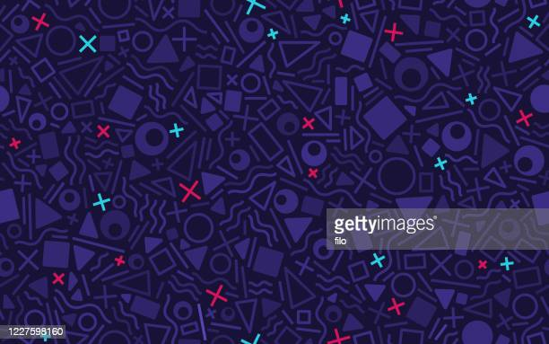 seamless retro abstract shapes background - leisure games stock illustrations
