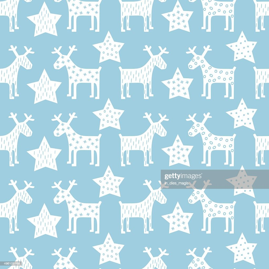 Seamless retro Christmas pattern - Xmas reindeer and night stars