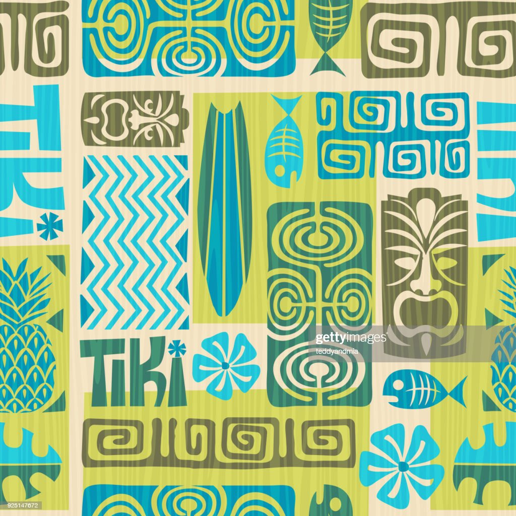 Seamless retro exotic tiki pattern. Vector illustration.