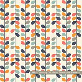 seamless retro pattern Abstract vines and leaves in vintage colors.