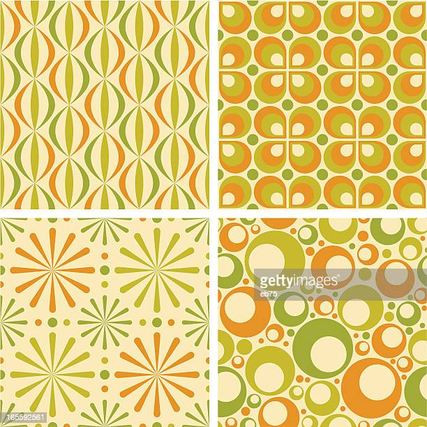 seamless retro patterns - funky stock illustrations