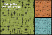 Seamless retro star pattern in 3 colors