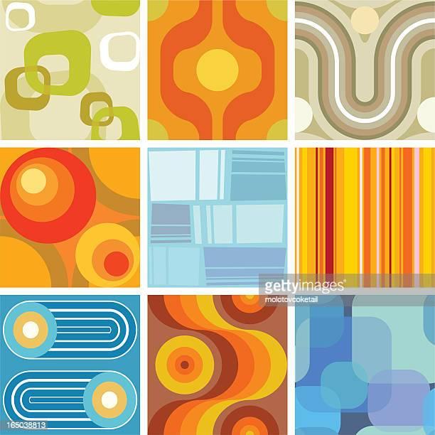 シームレスなレトロな壁紙のタイル - 1970~1979年点のイラスト素材/クリップアート素材/マンガ素材/アイコン素材