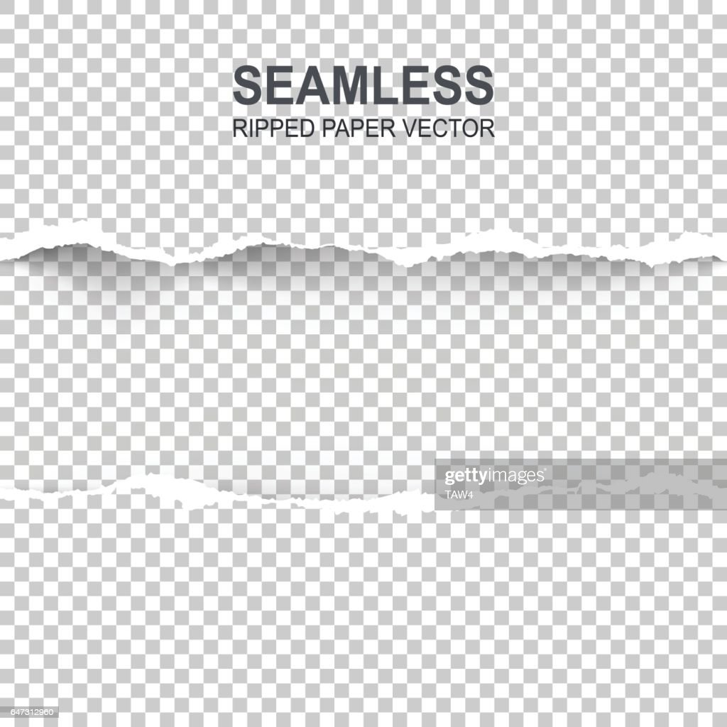 Seamless ripped paper and transparent background with space for text