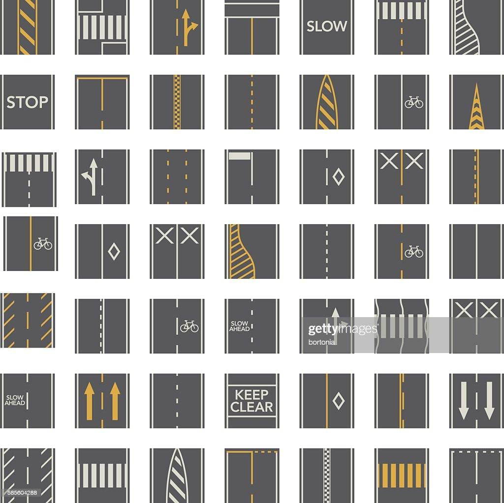 Seamless Road Construction Tiles Kit - Overhead Perspective : stock illustration